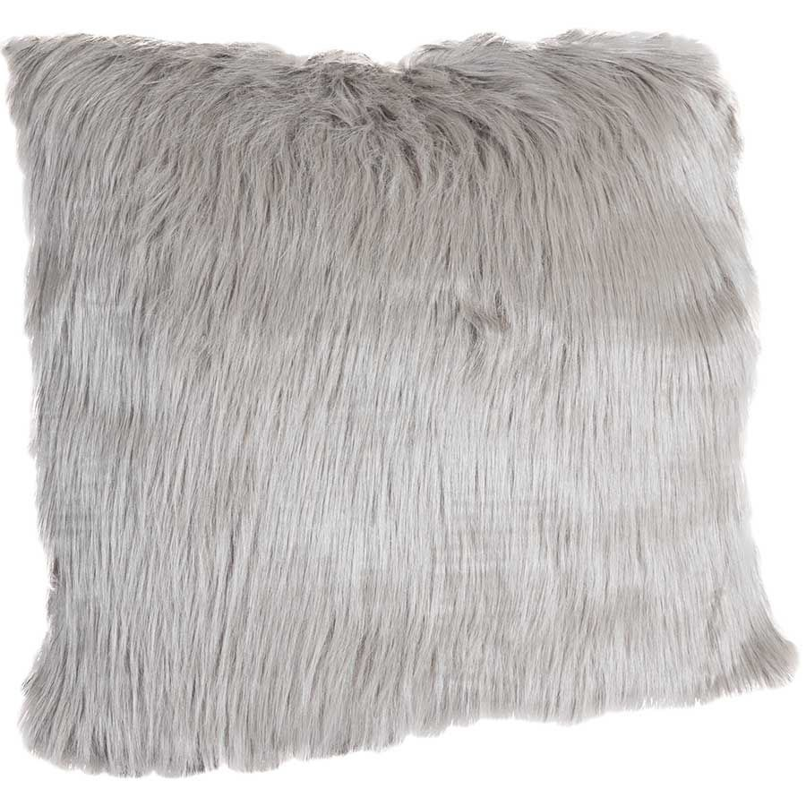 18X18 GRAY FAUX FUR PILLOW